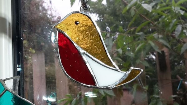 Stained Glass Decoration Robin gold red breast, white flash