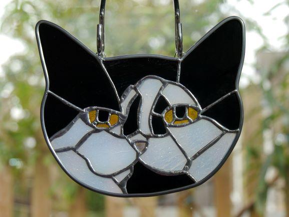 Handmade stained glass cat Black and White Cat suncatcher