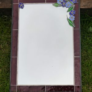 Rectangular Mirror red border and blue flowers