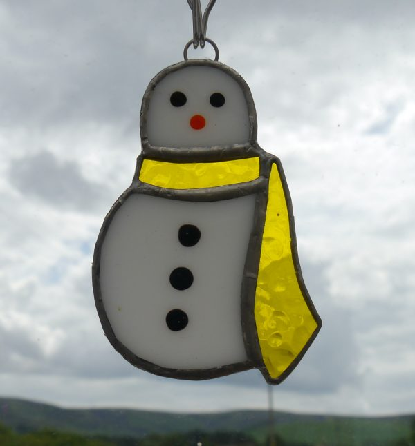 Snowman Decoration, coloured scarf, white body, painted nose and buttons
