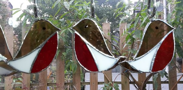 Stained Glass Robin Decoration brown with red breast and white flash