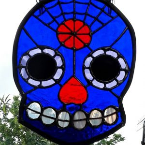 Candy Skull royal blue with red nose and flower