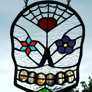 Candy Skull Clear, purple flower, red heart and turquoise and orange diamond flower