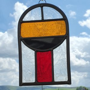 Stained Glass Harley Arched Mondrian Style orange, black, clear and red
