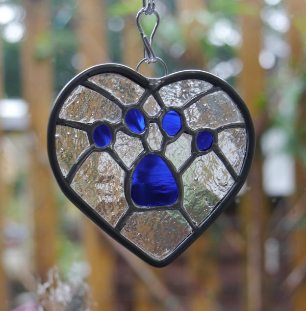 Pawprint Blue Heart with clear background