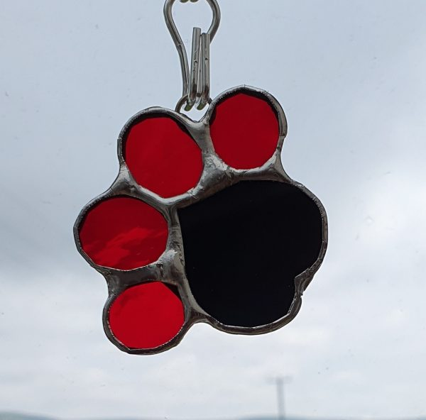 Pawprint Heart with red toe pads and black heart large pad
