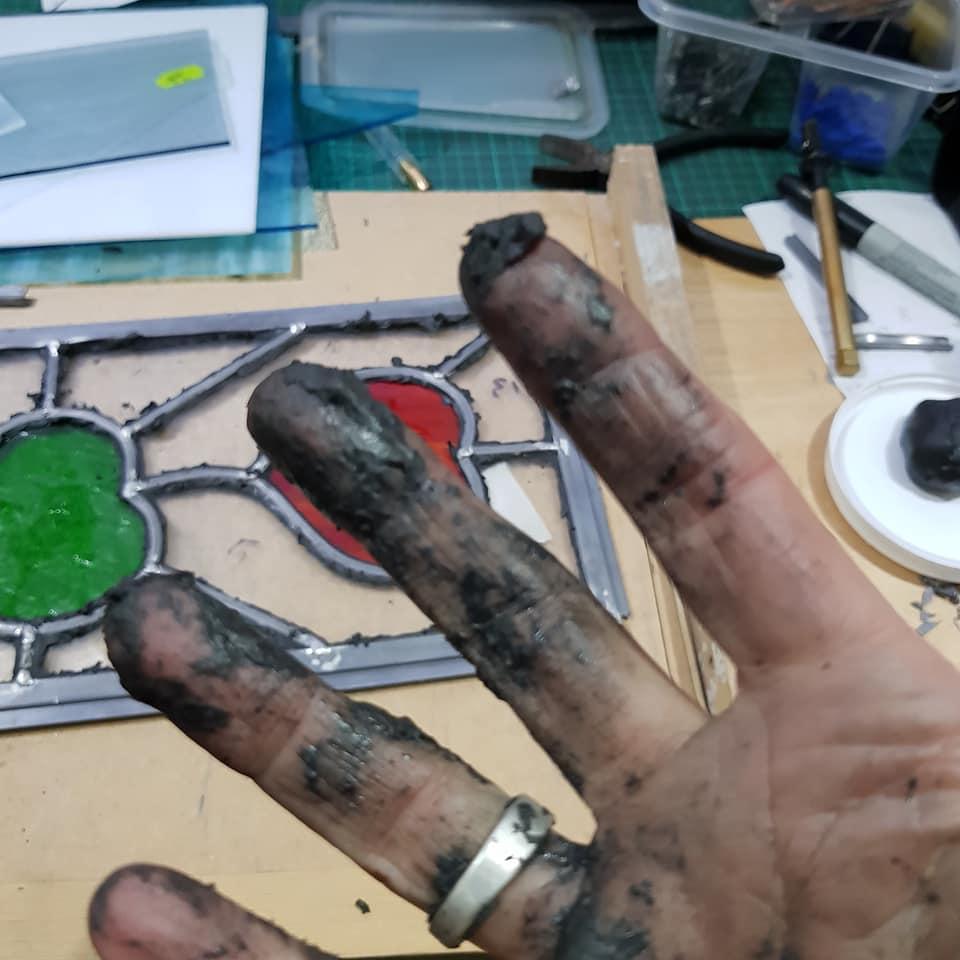 Glass Cement Hands
